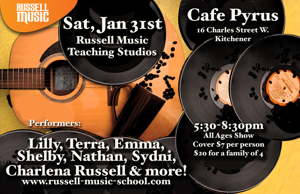 All Ages Show at Cafe Pyrus, Sat. Jan 31, 2015